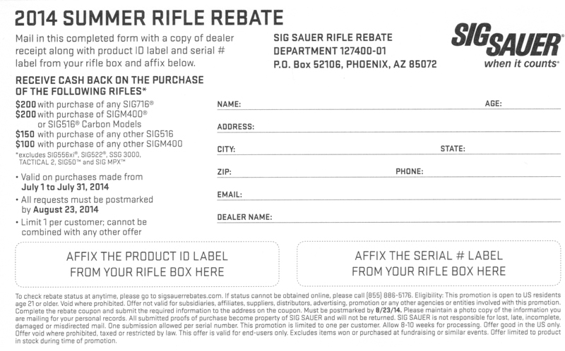 Sig rifle mail in rebate